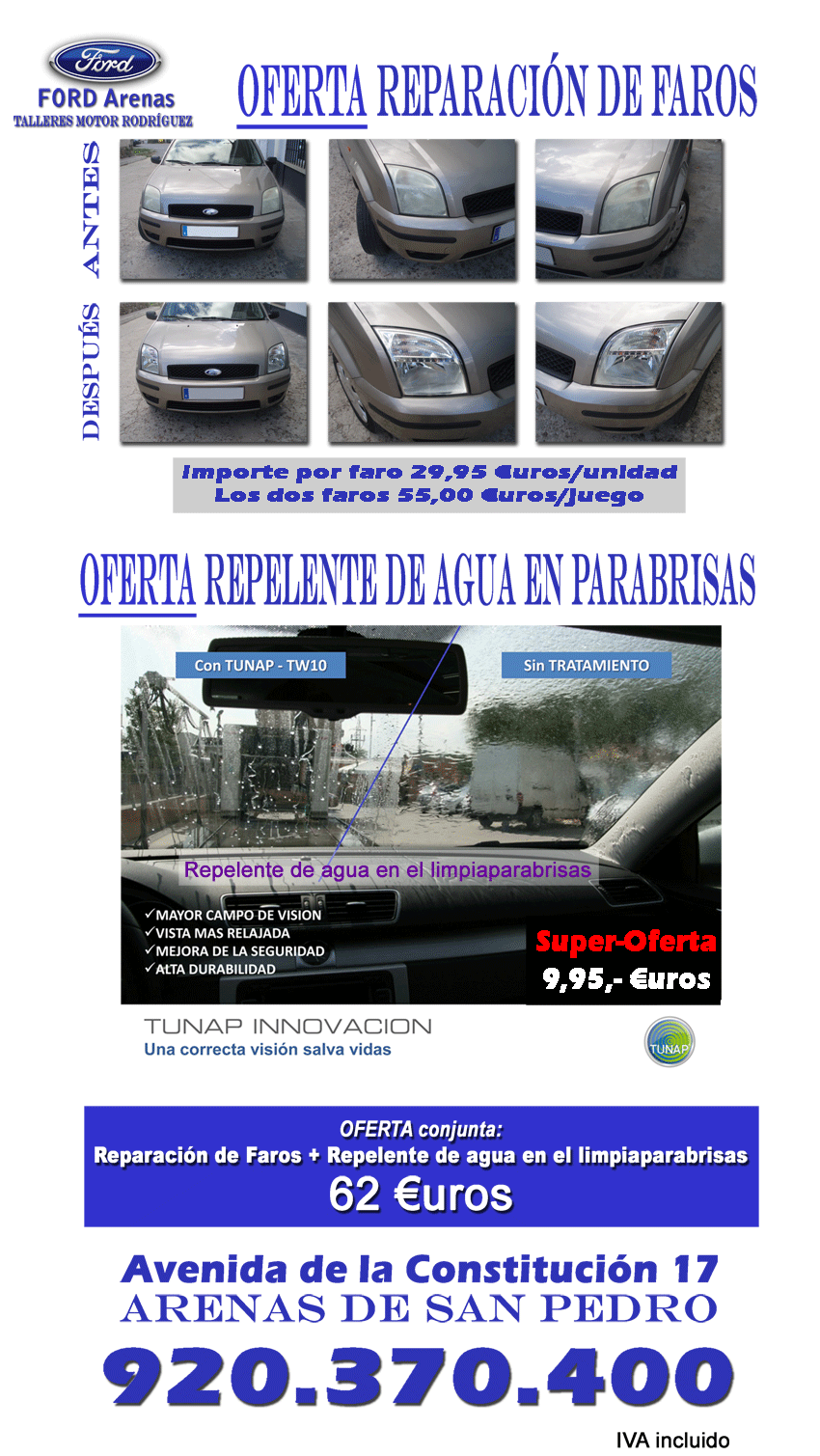 Oferta-Reparación-de-Faros-y-Repelente-Agua-Parabrisas - Ford Arenas de San Pedro - TiétarTeVe