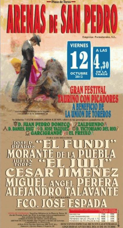 Corrida de Toros en Arenas de San Pedro el 12 de Octubre de 2012