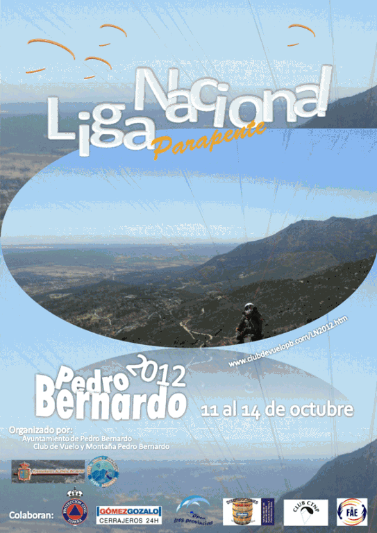 Cartel de la Liga nacional de Parapente Pedro Bernardo 2012
