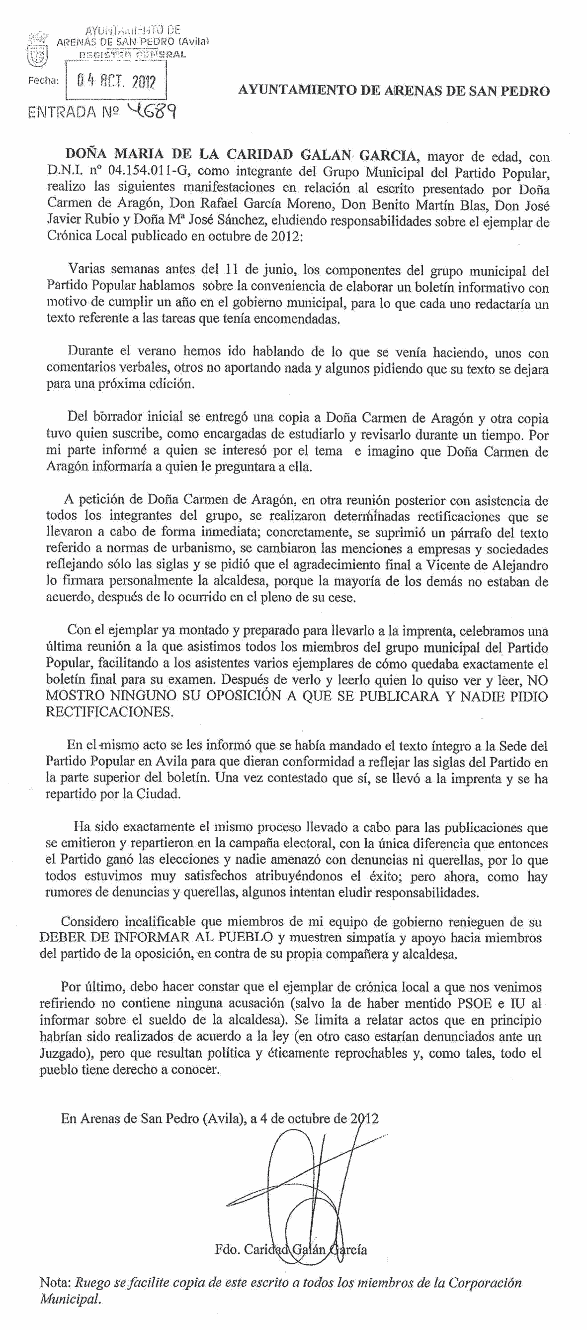 2012-10-04 Carta Caridad Galán - Alcaldesa de Arenas de San Pedro