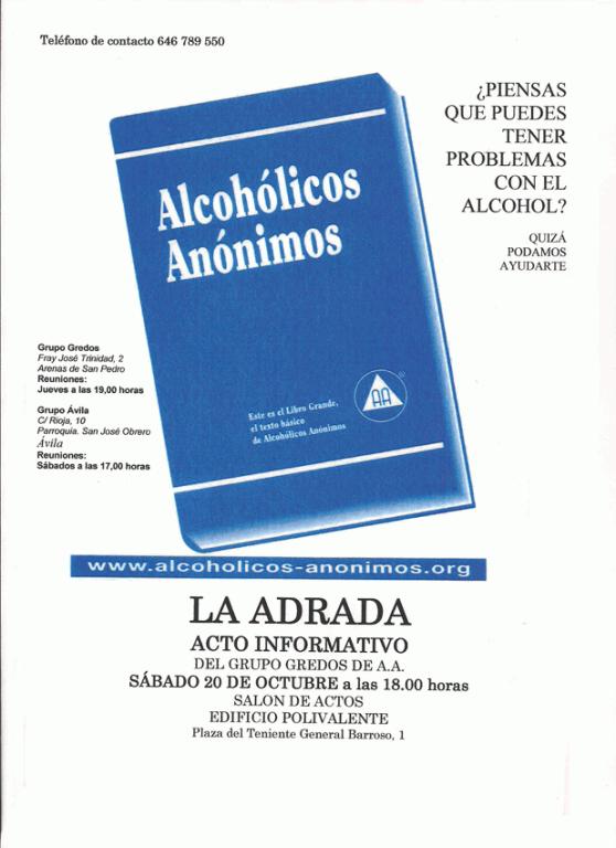Cartel Acto Informativo de La Adrada de Alcohólicos Anónimos