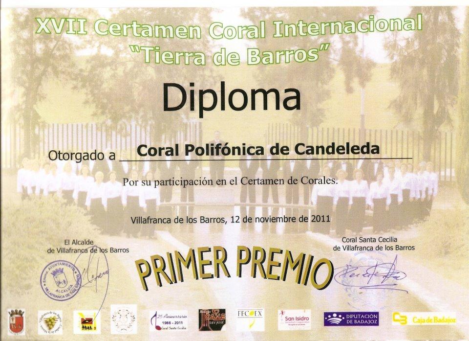 I Premio XVII Certamen Internacional Villa de Barros para la Coral Polifónica de Candeleda