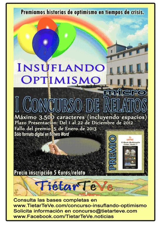 """Cartel I Concurso Micro-Relatos """"Insuflando Optimismo"""" por TiétarTeVe.com"""