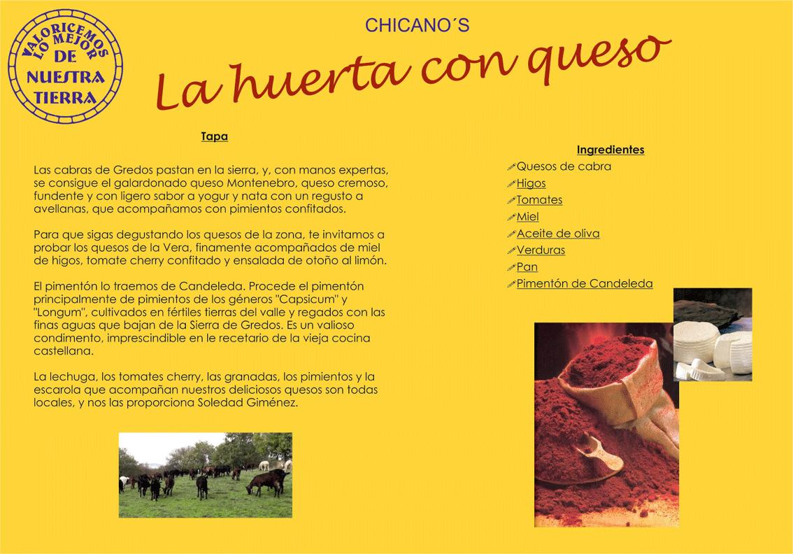 """Tapa """"La Huerta con Queso"""" de Chicano's - De la Huerta a la Tapa - Arenas de San Pedro - TiétarTeVe"""