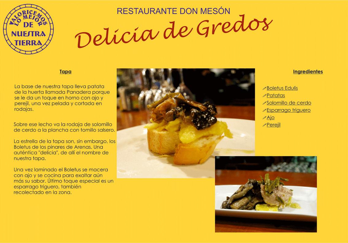 """Tapa """"Delicia de Gredos"""" del Restaurante Don Mesón - De la Huerta a la Tapa - Arenas de San Pedro - TiétarTeVe"""