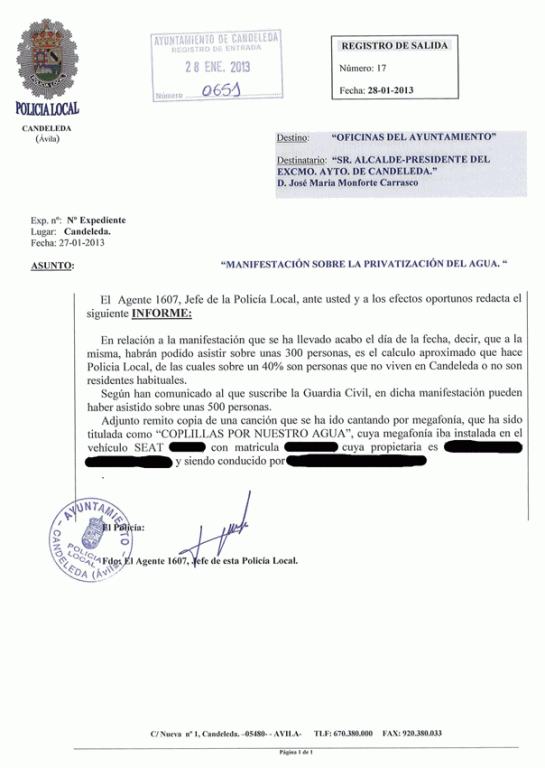 Informe de la Policía Local de Candeleda del 27 de enero de 2013 sin datos - TiétarTeVe