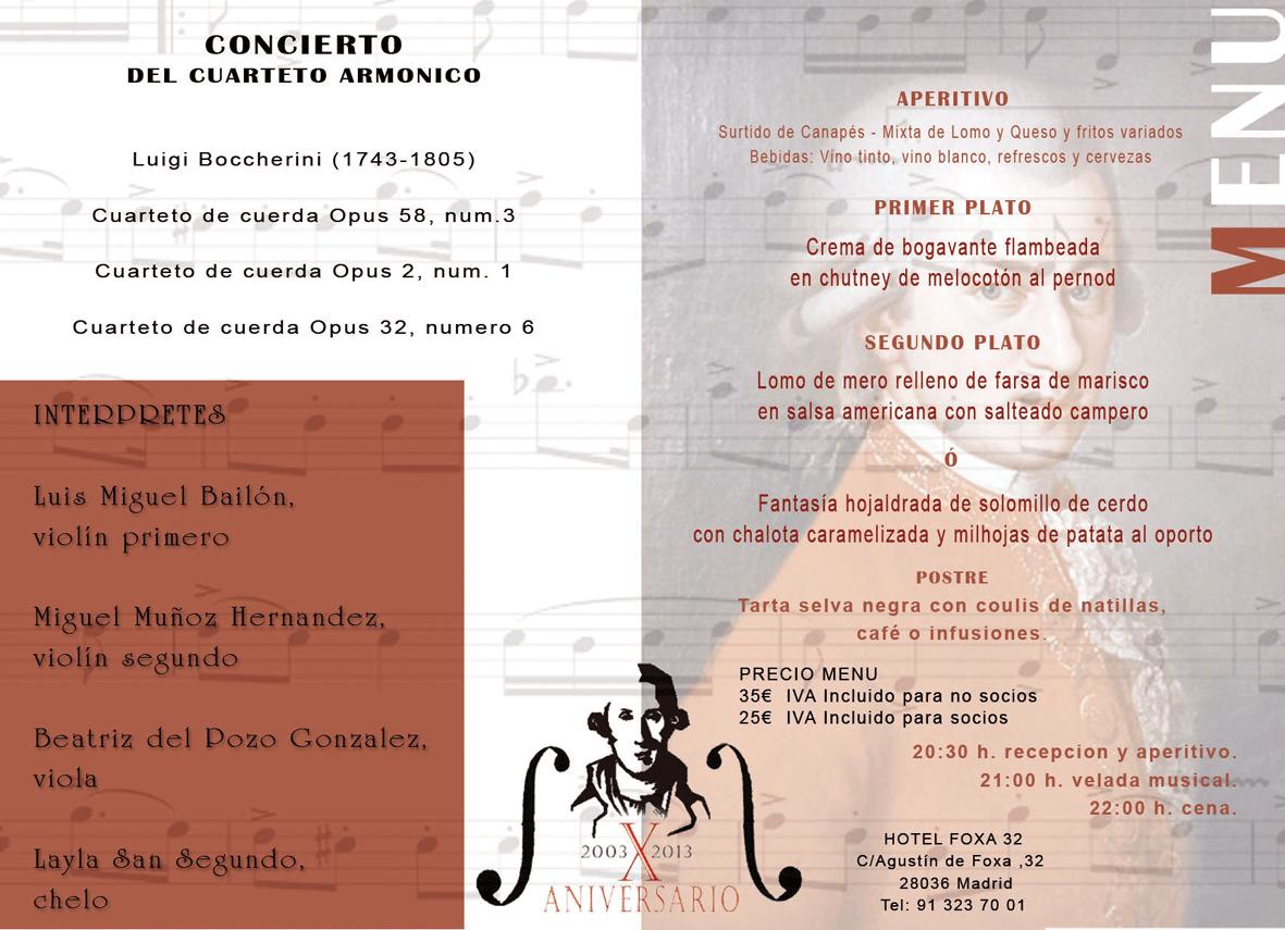 Programa de la IV Cena Musical Luigi Boccherini - TiétarTeVe
