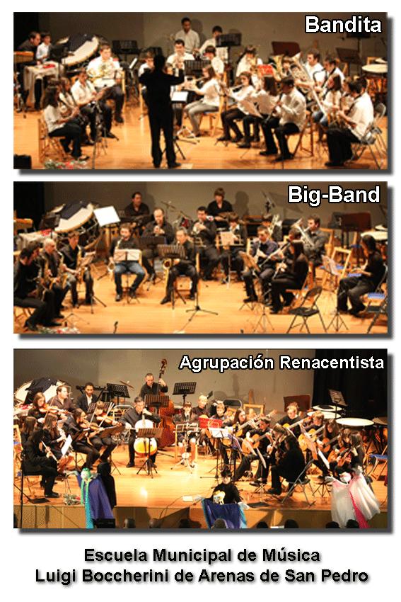 Bandita, Big-Band y Agrupación Renacentista de la Escuela Municipal de Música Luigi Boccherini de Arenas de San Pedro - TiétarTeVe