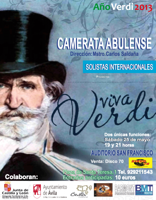 Cartel Viva Verdi Ávila - Camerata Abulense - TiétarTeVe