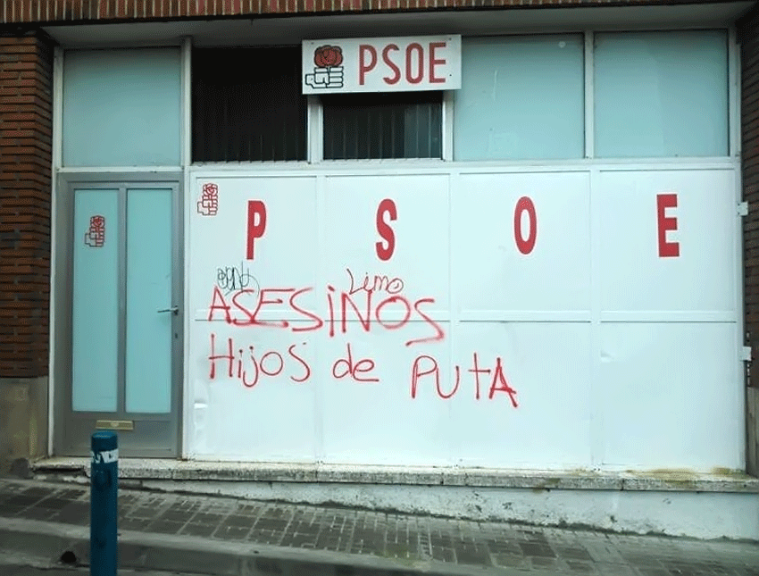 Pintadas en la sede del PSOE de Arenas de San Pedro - TiétarTeVe