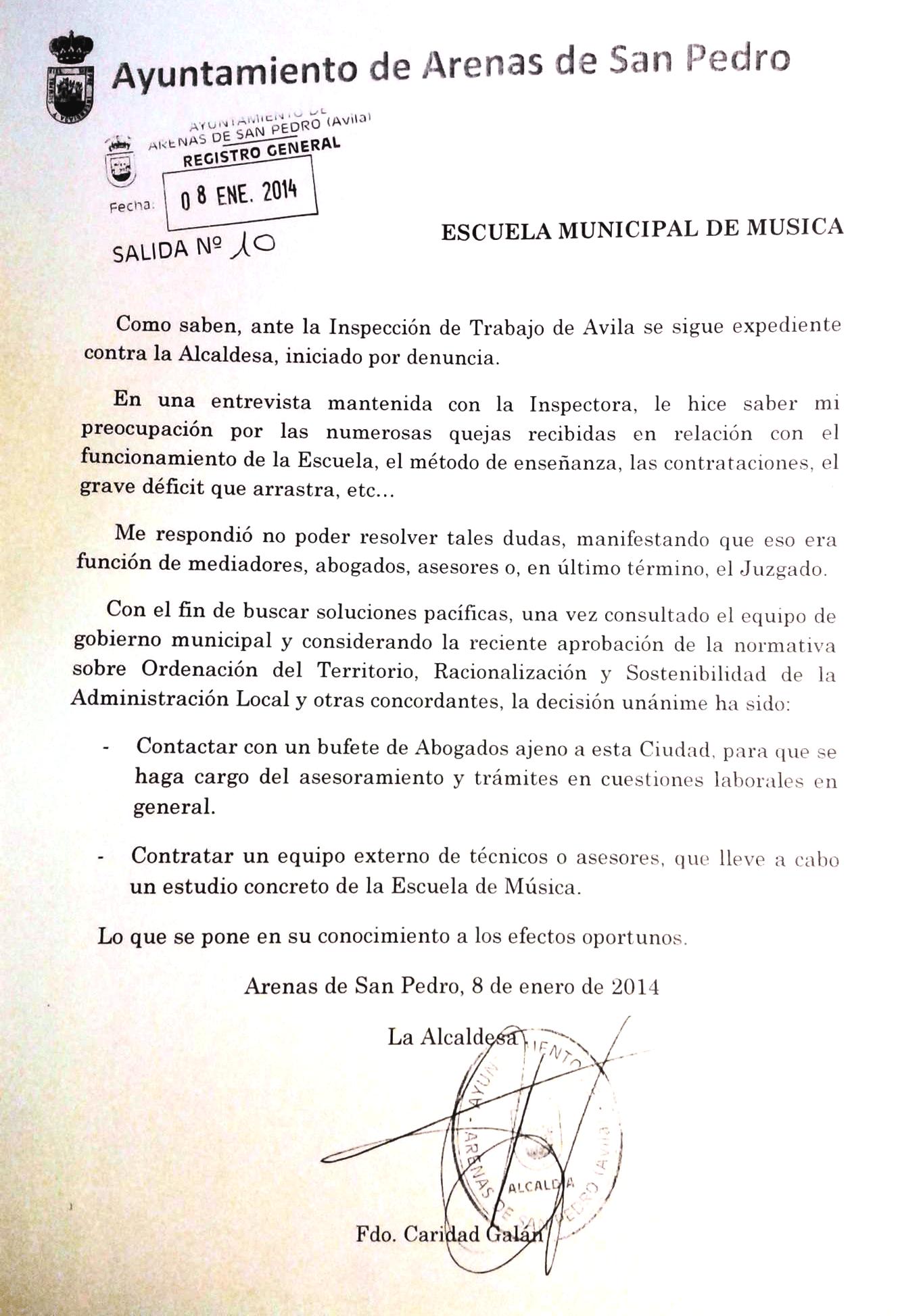 Carta Alcaldesa a Escuela de Música de Arenas de San Pedro - TiétarTeVe