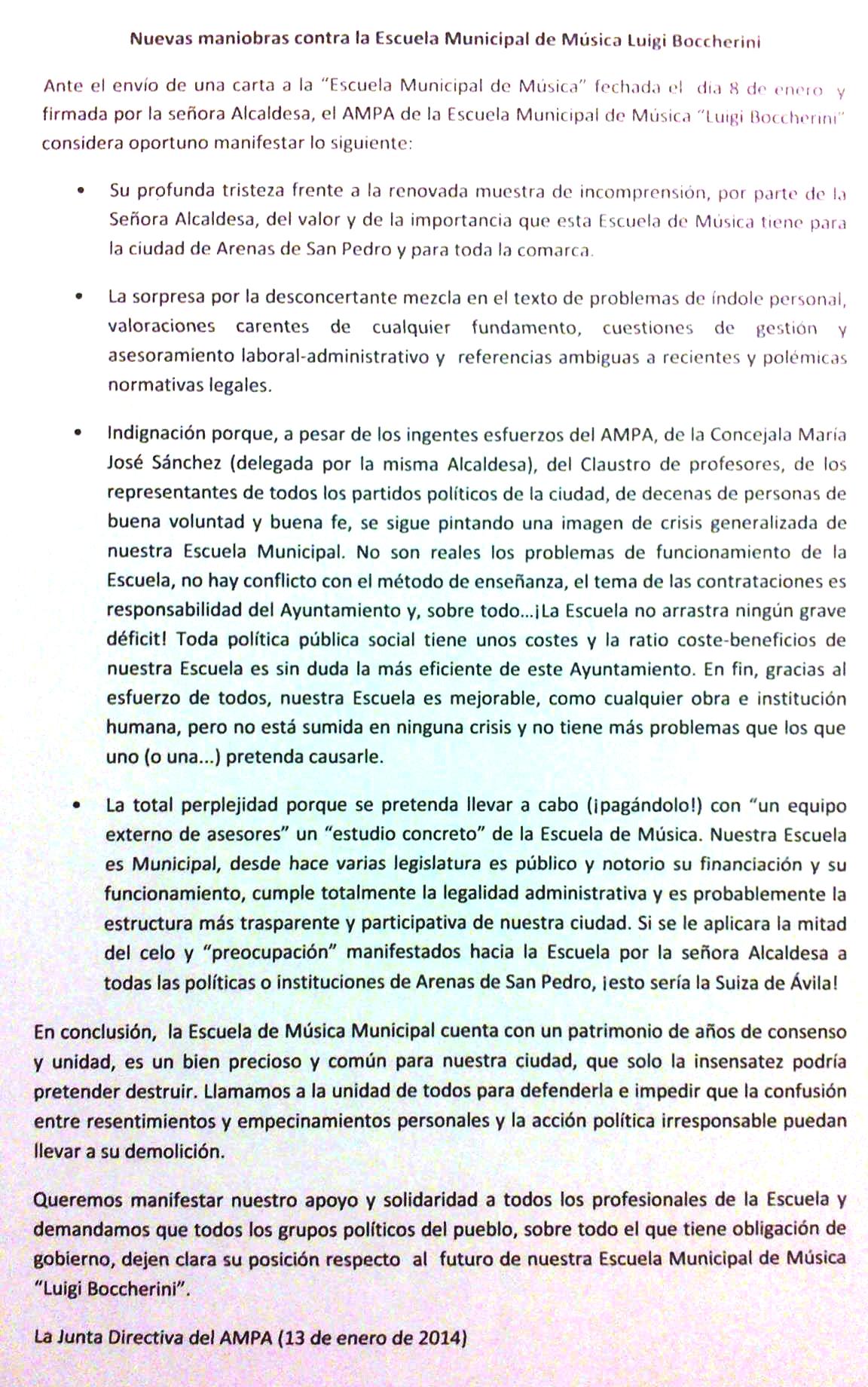 Respuesta de la Escuela de Música de Arenas de San Pedro - TiétarTeVe