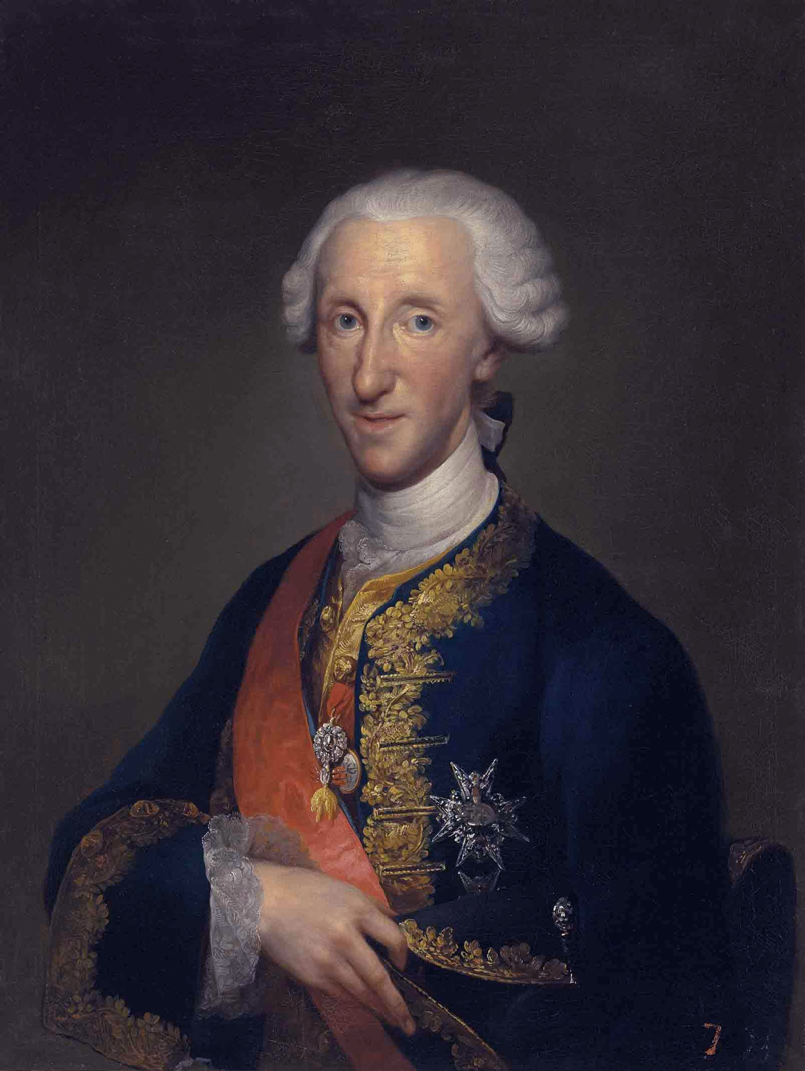 Don Luis de Borbón, Infante of Spain (1727-1785), in court dress, with the insignia of the Orders of the Golden Fleece, St. Januarius and Saint-Esprit