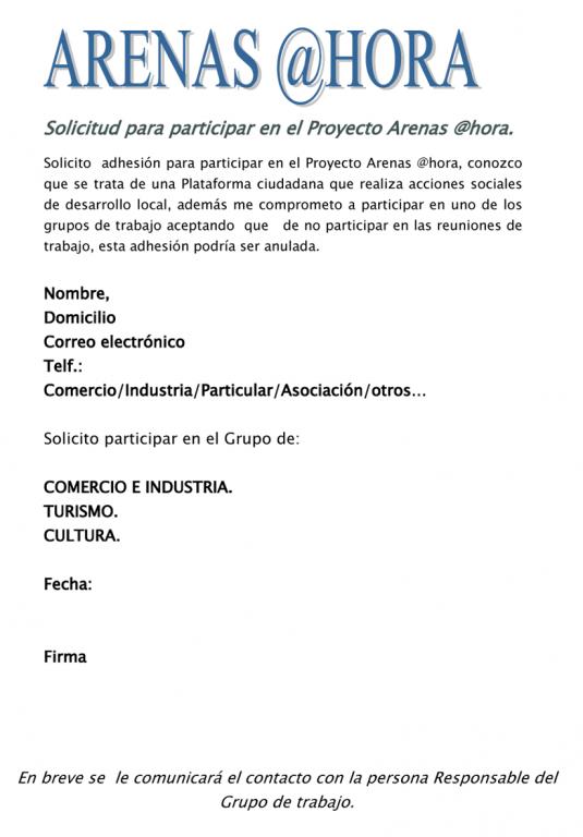 Solicitud de Adhesión en el Proyecto Arenas @hora de Arenas de San Pedro - TiétarTeVe