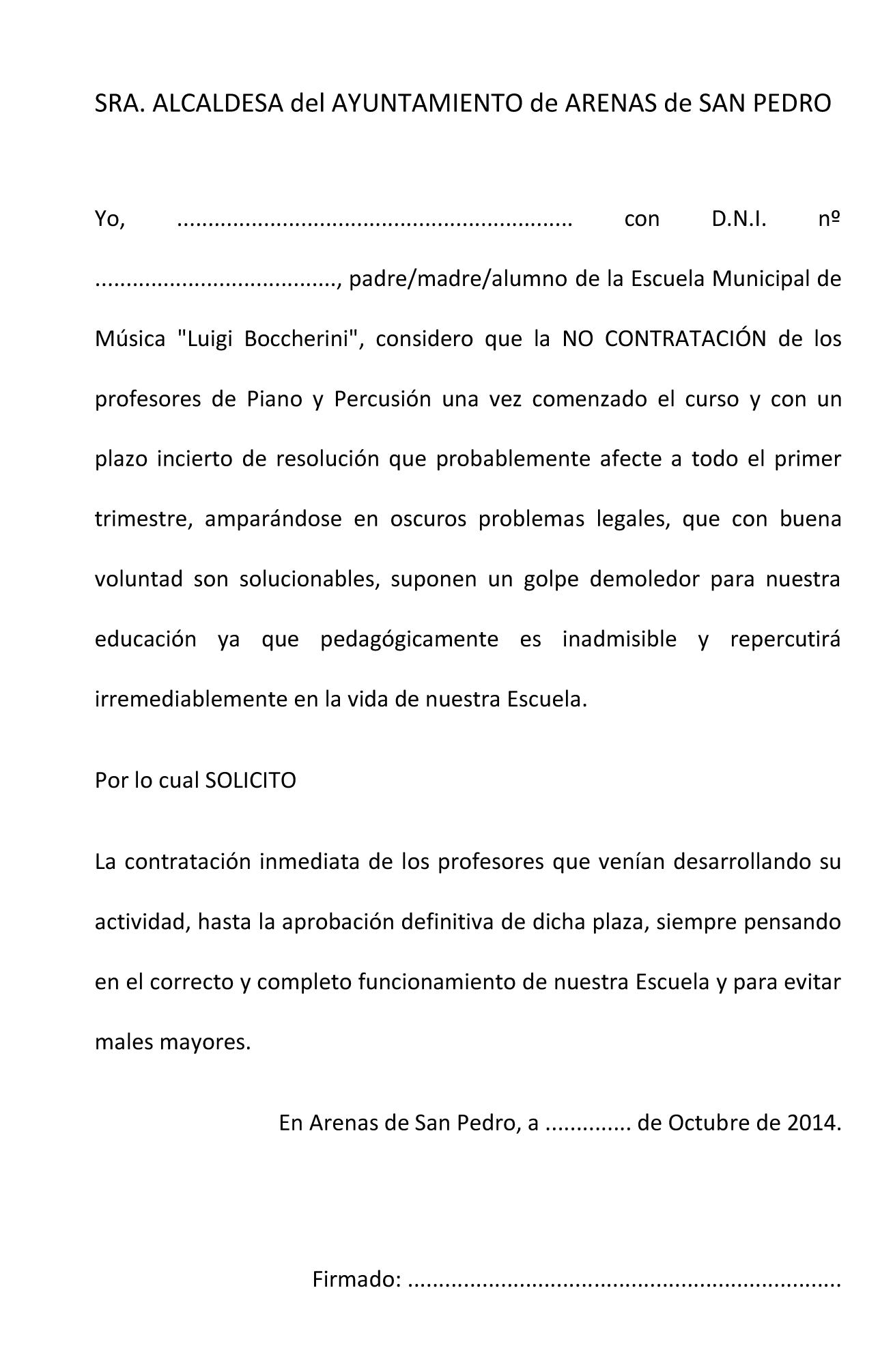 Carta Escuela de Música a Alcaldesa de Arenas de San Pedro - TiétarTeVe