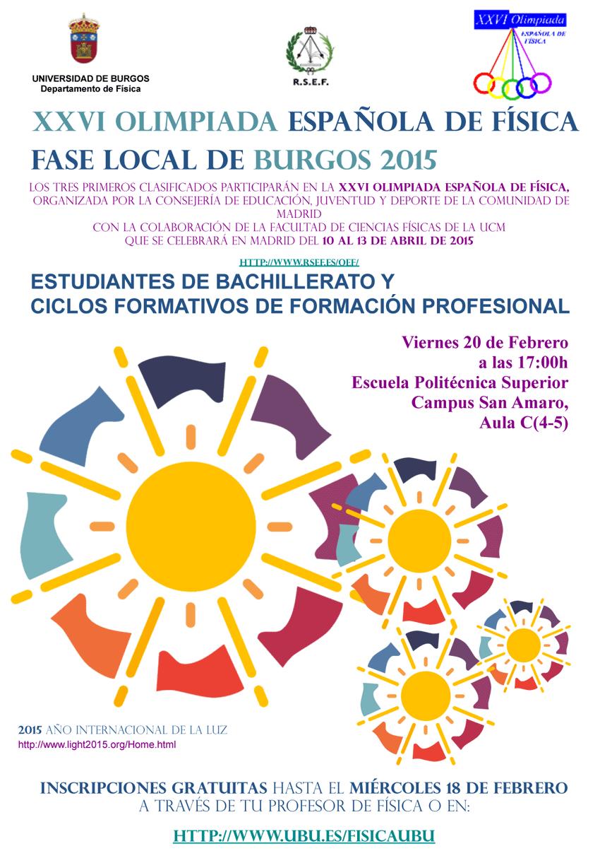 Cartel de la XXVI Olimpiada Local de Física 2015 de Burgos