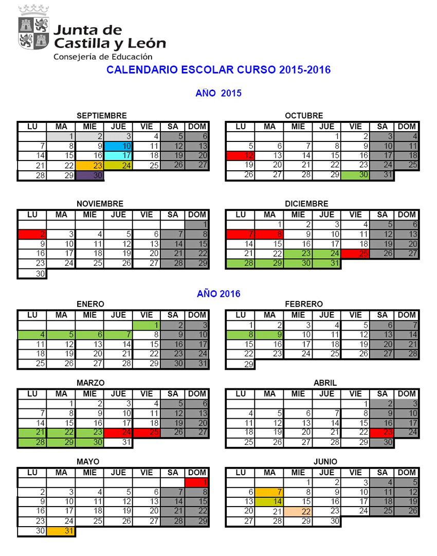 Calendario Escolar 2015/2016 en Castilla y León - TiétarTeVe