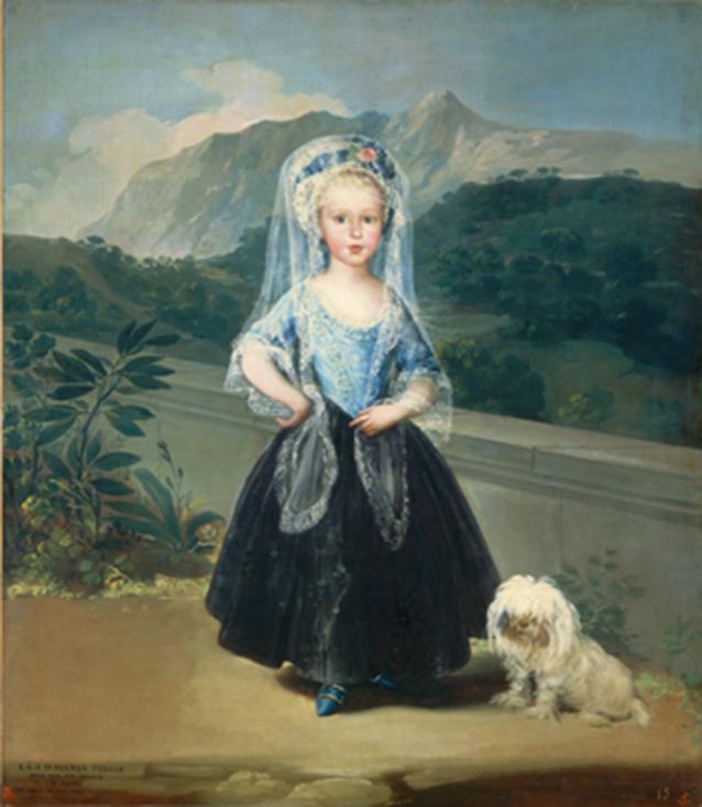 Retrato de la Condesa de Chinchón niña en Arenas de San Pedro - Goya - La Sierra de Gredos al fondo