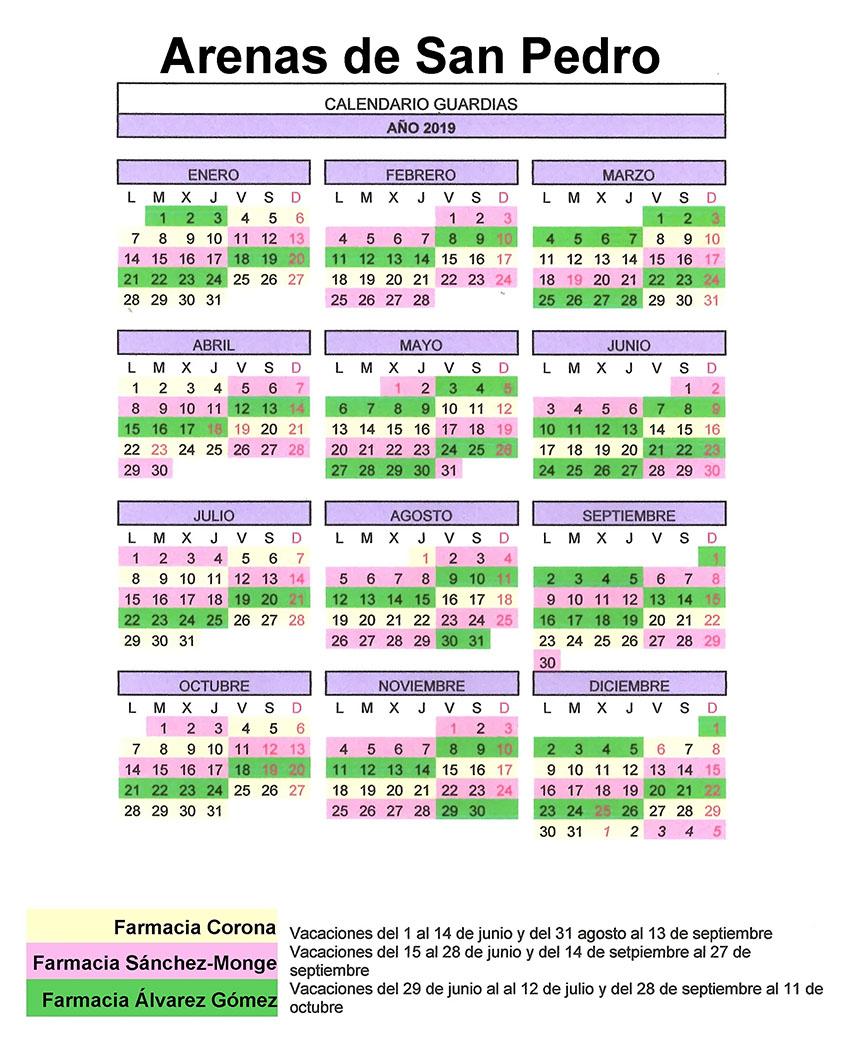 Calendario Farmacias de Guardia 2019 - Arenas de San Pedro - TiétarTeVe
