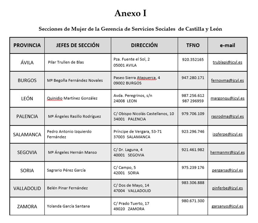 Secciones de Mujer de la Gerencia de Servicios Sociales  de Castilla y León