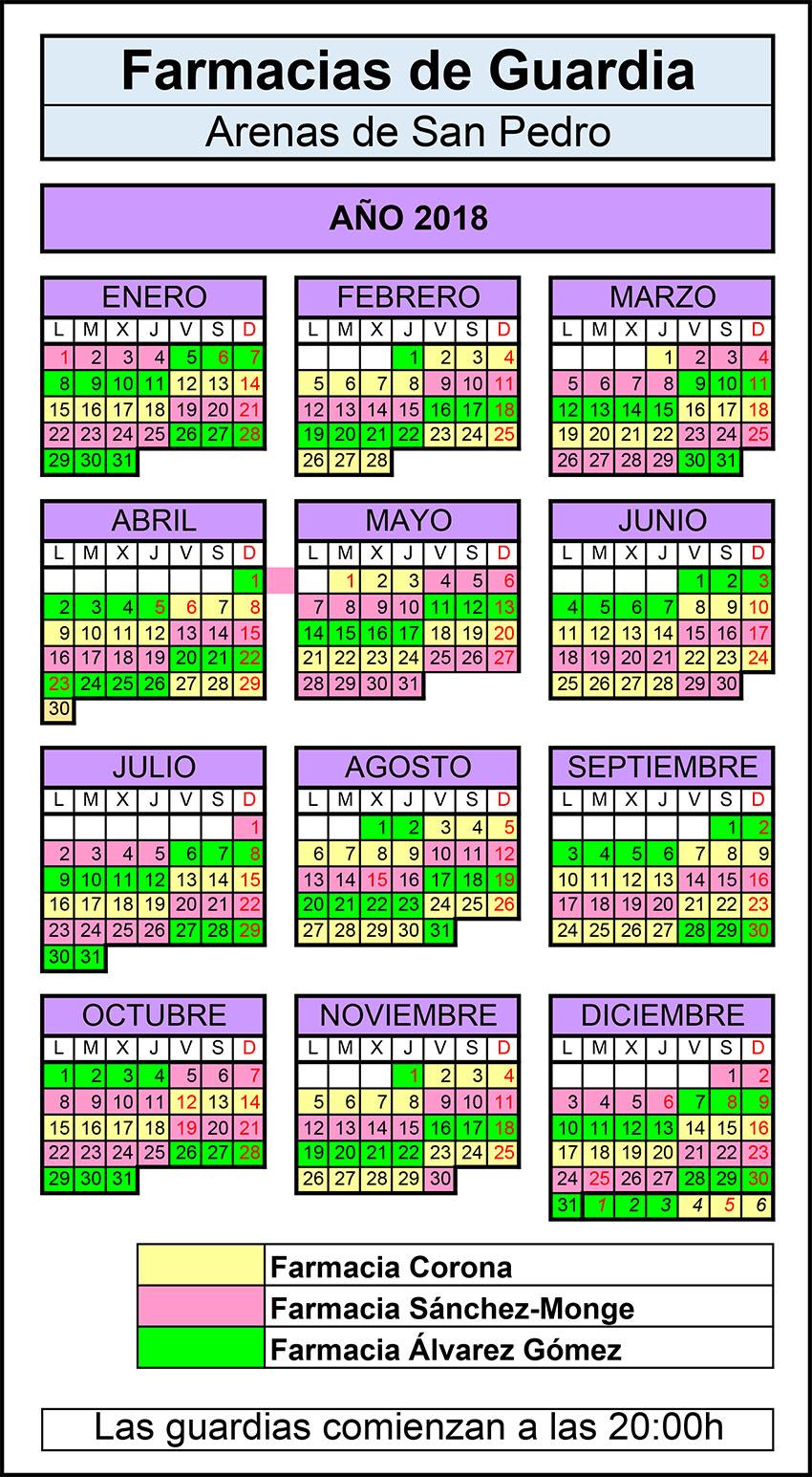 Calendario Farmacias de Guardia 2018 - Arenas de San Pedro - TiétarTeVe
