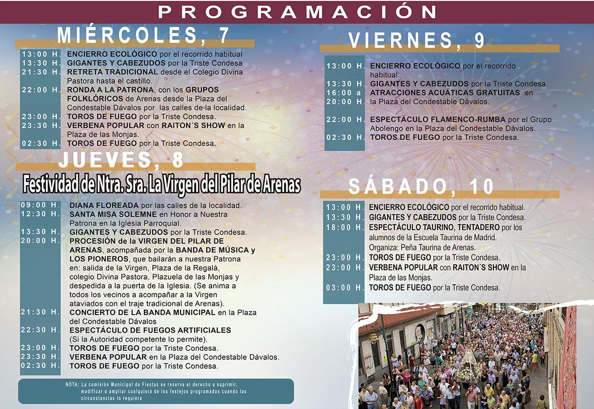 Programa de las Fiestas del Pilar de Arenas de San Pedro 2016 - TiétarTeVe