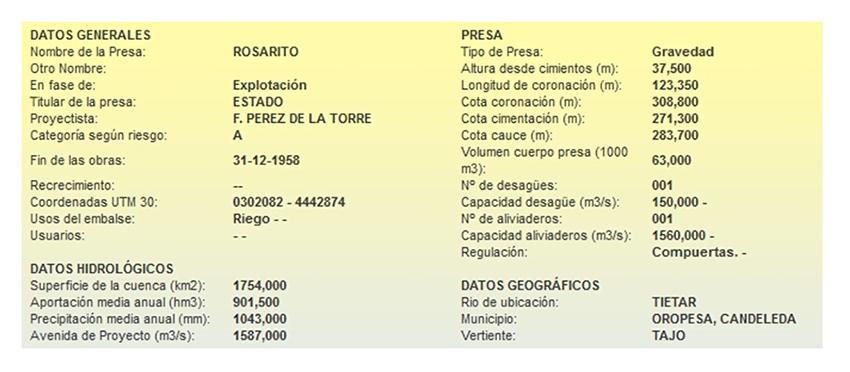 Datos de la Presa Rosarito - SEPREM