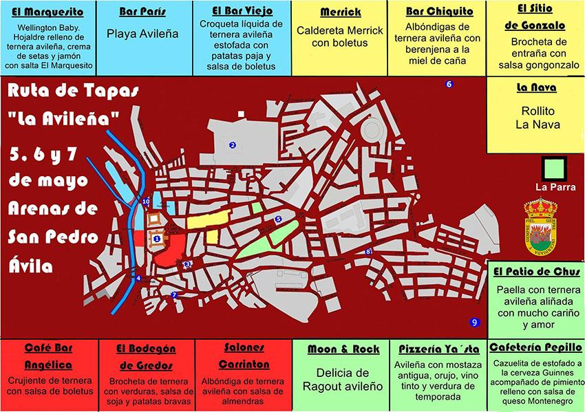 Mapa III Ruta de Tapas La Avileña Arenas de San Pedro – TiétarTeVe