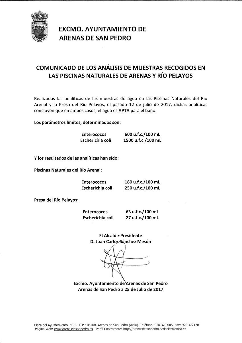 Analisis Agua Piscinas Naturales - Arenas de San Pedro - TiétarTeVe