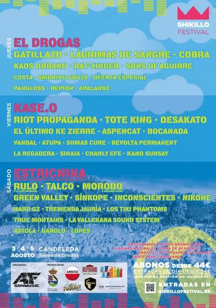 Cartel Shikillo Festival 2017 por dias - Candeleda - TiétarTeVe