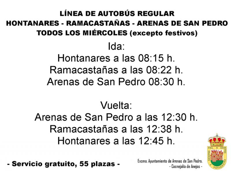 Línea de autobuses entre anejos y Arenas de San Pedro - TiétarTeVe