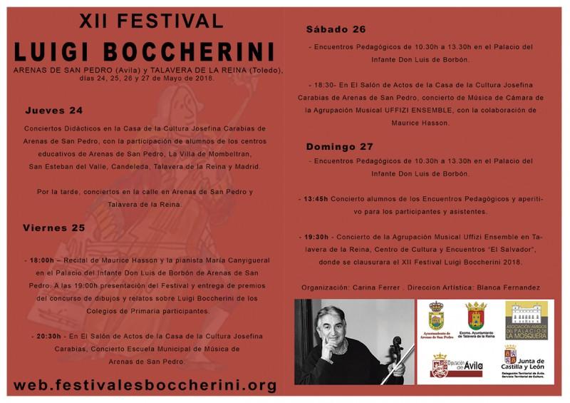XII Festival BOCCHERINI - Programa - Arenas de San Pedro y Talavera de La Reina - TiétarTeVe