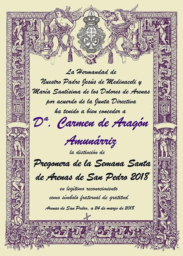 Diploma entregado a Carmen de Aragón - Arenas de San Pedro - TiétarTeVe