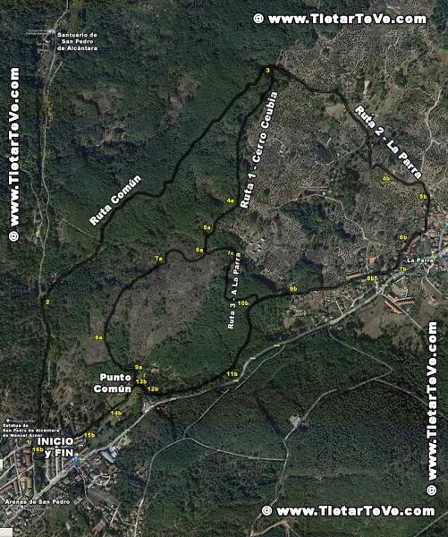Mapa Ruta Camino de San Pedro de Alcántara - Cerro Ceubia - La Parra - Urb. La Avellaneda - Arenas de San Pedro - TiétarTeVe