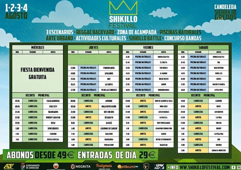 Horarios Shikillo Festival - TiétarTeVe