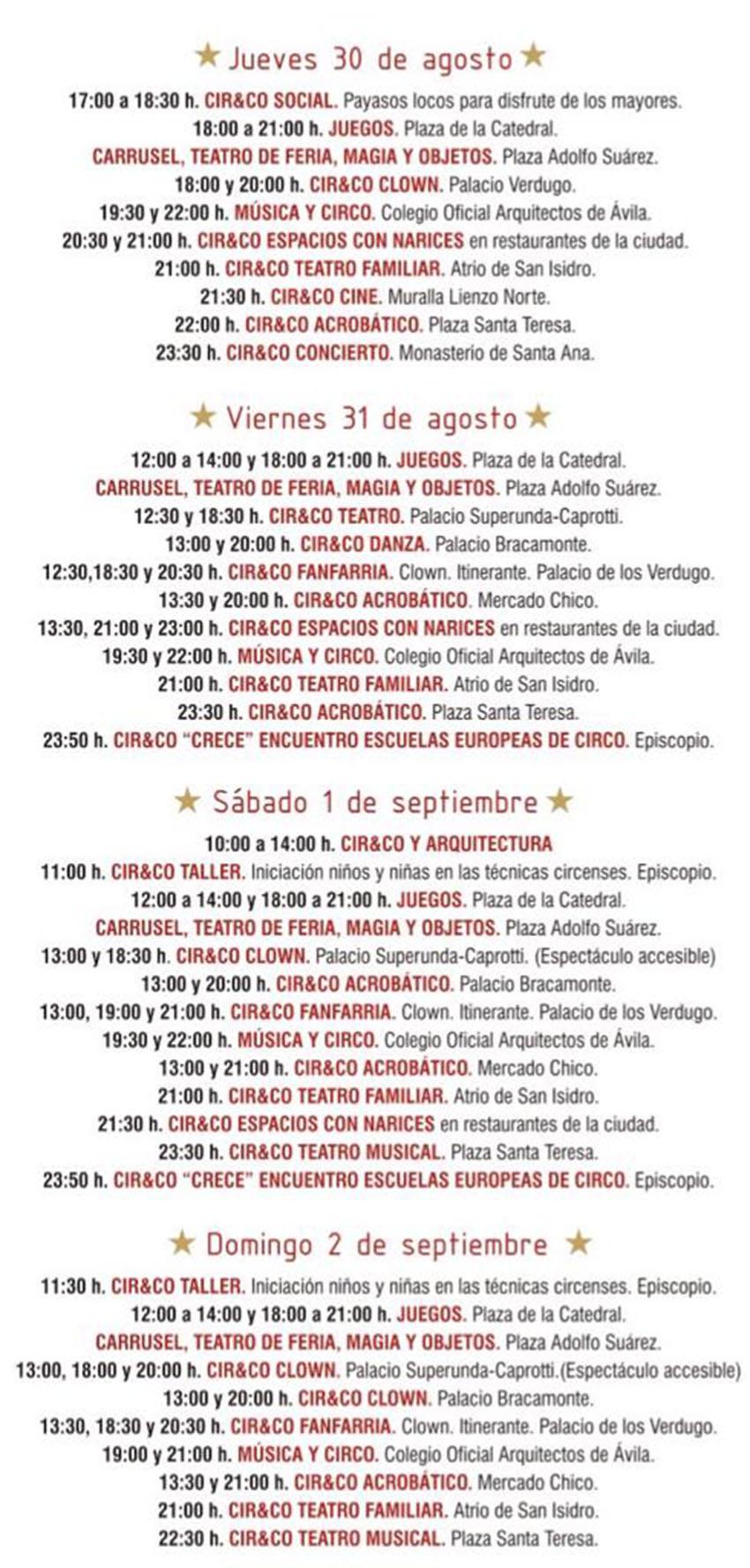 Programación Cir&Co 2018 Ávila - TiétarTeVe