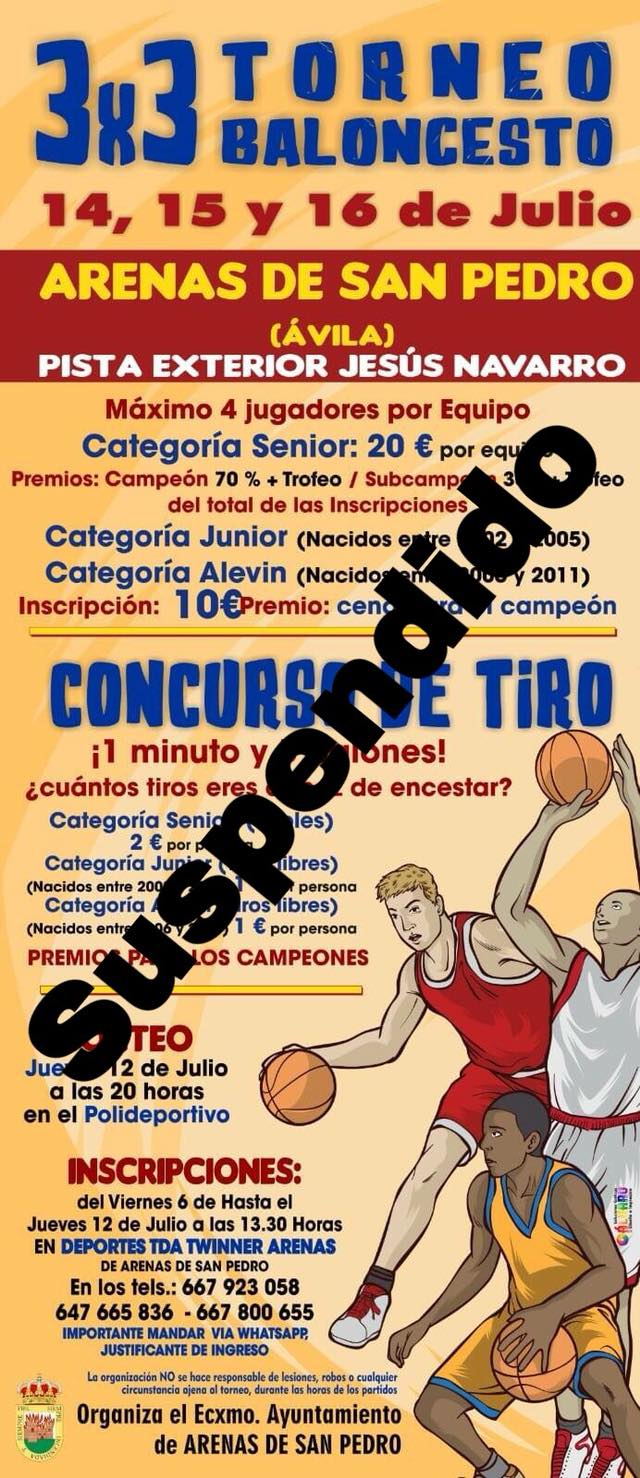 Suspendido Trofeo 3x3 Baloncesto - Arenas de San Pedro - TiétarTeVe