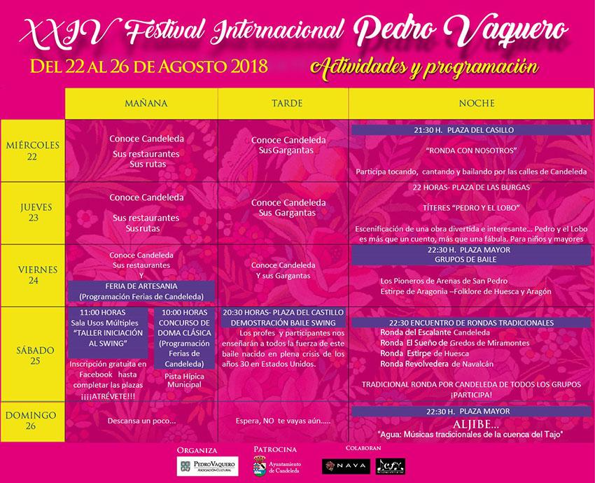 Programación XXIV Festival Internacional Pedro Vaquero - Candeleda - TiétarTeVe