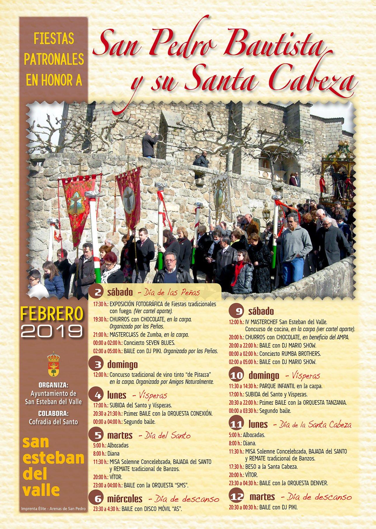 Fiestas patronales en honor a San Pedro Bautista y su Santa Cabeza en San Esteban del Valle 2019 - TiétarTeVe