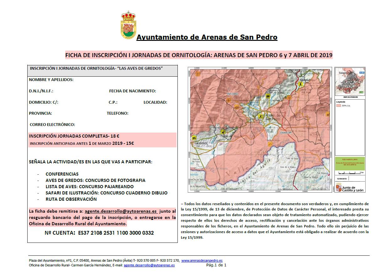 "Ficha de Inscripción de las I Jornadas de Ornitología ""Aves de Gredos"" - Arenas de San Pedro - TiétarTeVe"