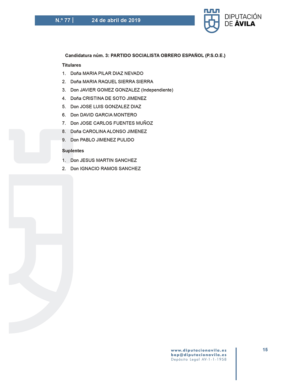 Elecciones Municipales 2019 - Casavieja - BOPA 24-04-2019 - TiétarTeVe