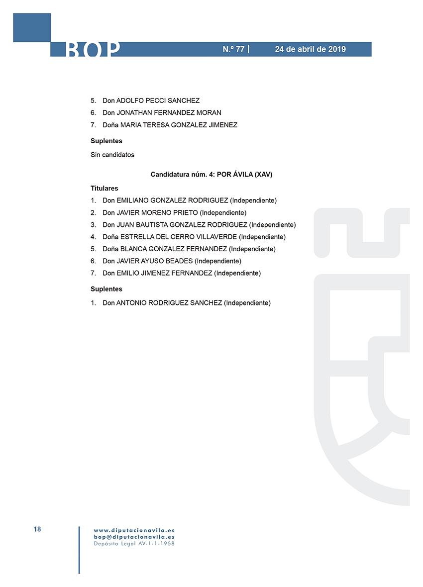 Elecciones Municipales 2019 - Cuevas del Valle - BOPA 24-04-2019 - TiétarTeVe