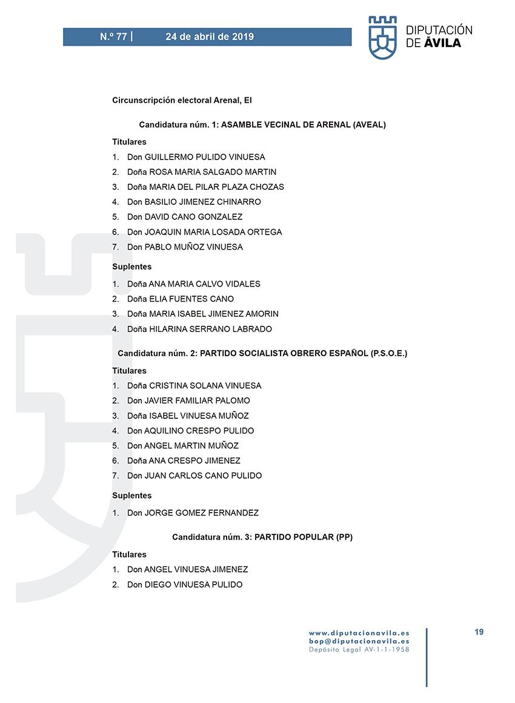 Elecciones Municipales 2019 - El Arenal - BOPA 24-04-2019 - TiétarTeVe