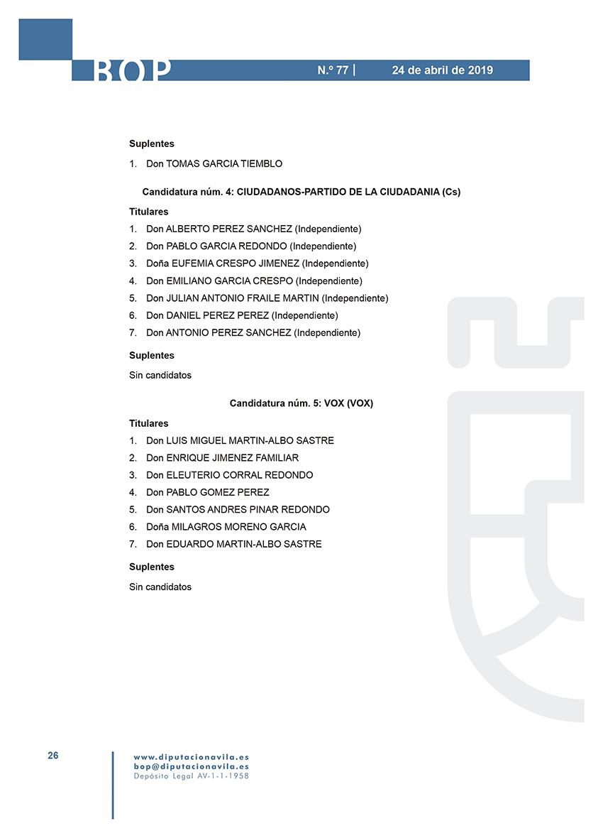 Elecciones Municipales 2019 - El Hornillo - BOPA 24-04-2019 - TiétarTeVe