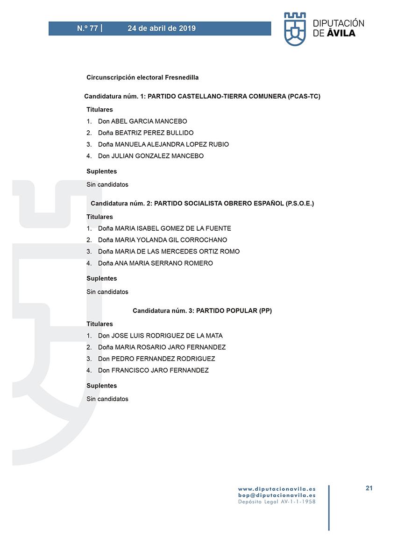 Elecciones Municipales 2019 - Fresnedilla - BOPA 24-04-2019 - TiétarTeVe