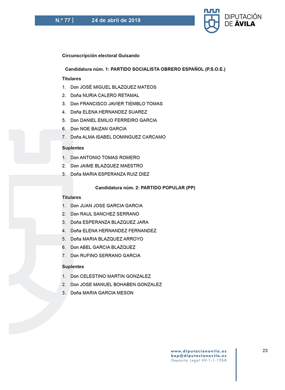 Elecciones Municipales 2019 - Guisando - BOPA 24-04-2019 - TiétarTeVe