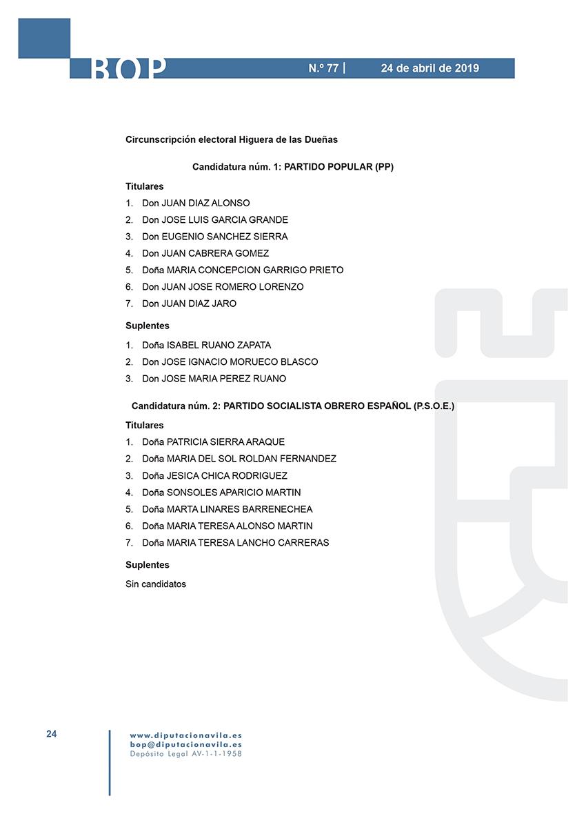 Elecciones Municipales 2019 - Higuera de las Dueñas - BOPA 24-04-2019 - TiétarTeVe