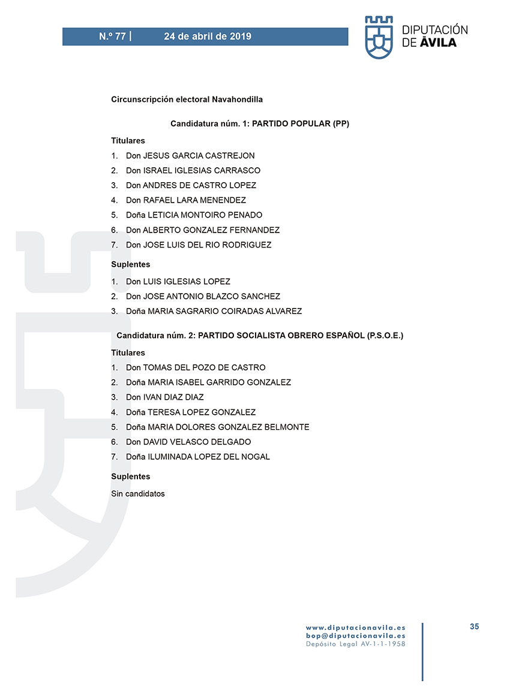 Elecciones Municipales 2019 - Navahondilla - BOPA 24-04-2019 - TiétarTeVe