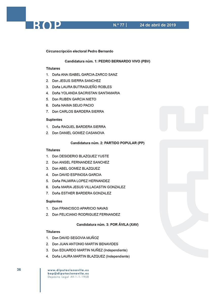Elecciones Municipales 2019 - Pedro Bernardo - BOPA 24-04-2019 - TiétarTeVe