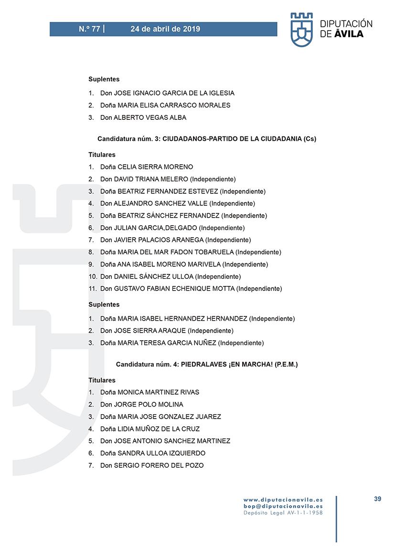 Elecciones Municipales 2019 - Piedralaves - BOPA 24-04-2019 - TiétarTeVe